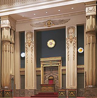 Three Lesser Lights in a masonic temple in Brussels